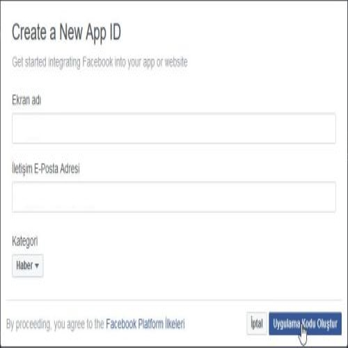 Application ID Oluşturma